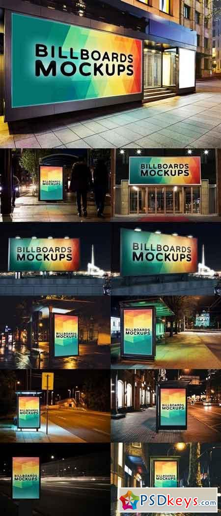 Billborad Mockups at Night Vol.3 1464275
