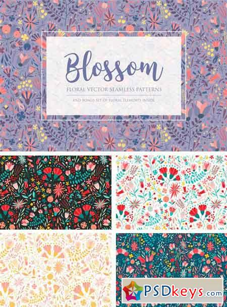 Floral Seamless Pattern and Skunks 2053008
