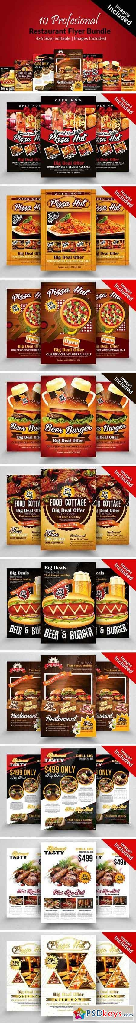 10 Restaurant Flyer Templates Bundle 2104260