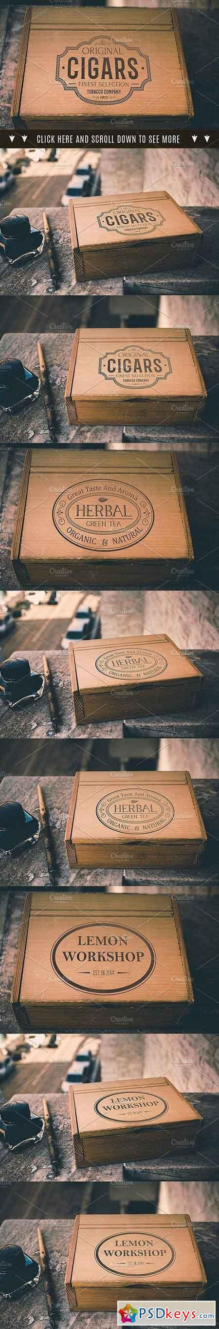 Wooden Box Retro Mockup, 3 vesions 1901905