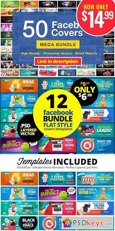 12 FB Covers BUNDLE! Flat Style 1877571