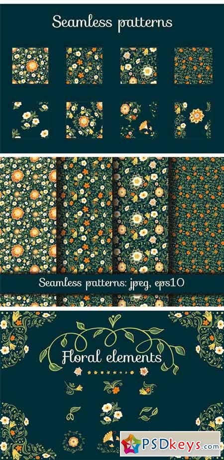 Fantasy Flowers Seamless Patterns 2147584