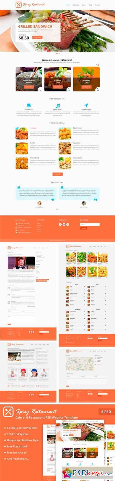 Cafe and Restaurant PSD Template 2164145