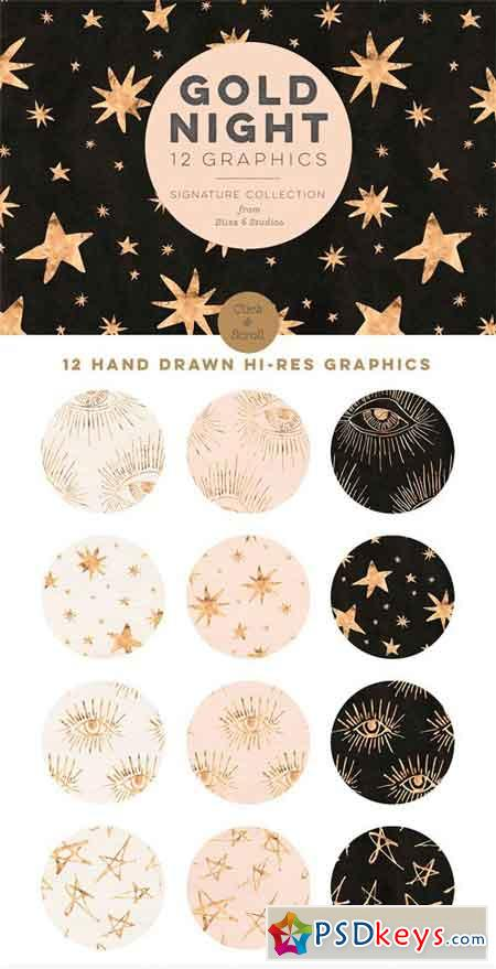 Gold Nights Hand Drawn Stars 2100021