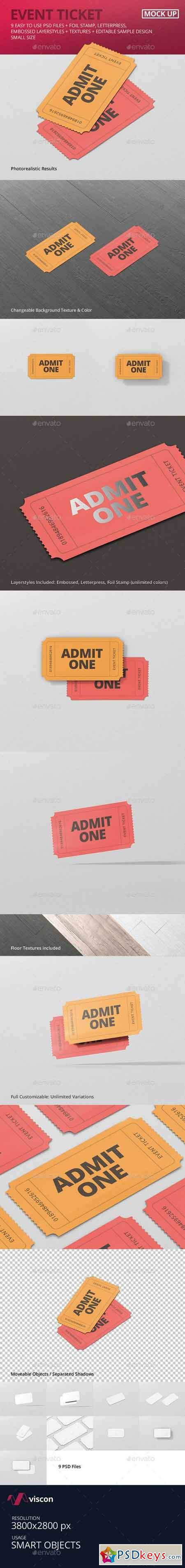 Event Ticket Mockup - Small Size 21220927