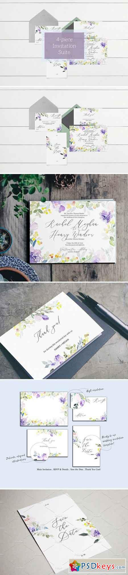 Purple & Pastel Wedding Invitation 2102924