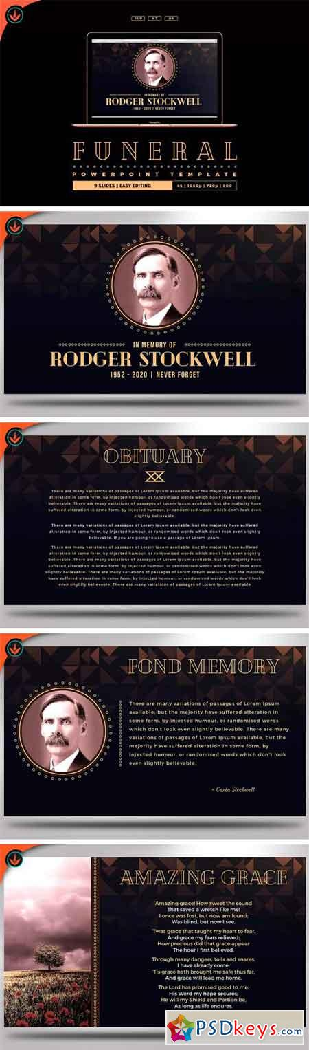 Art Deco Funeral PowerPoint Template 2163409