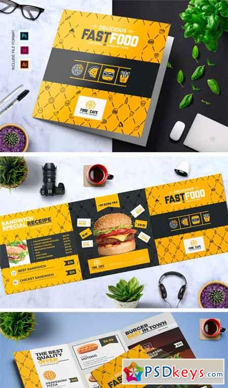 Fast Food TriFold Brochure Template Free Download - Food brochure templates