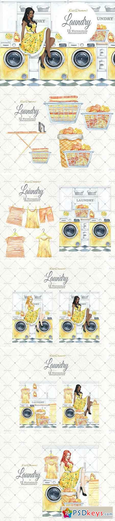 Laundry Watercolor Clipart 2 2121298
