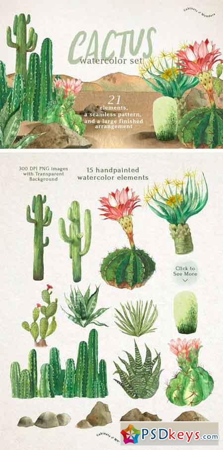 Cactus Watercolor Set 2066730