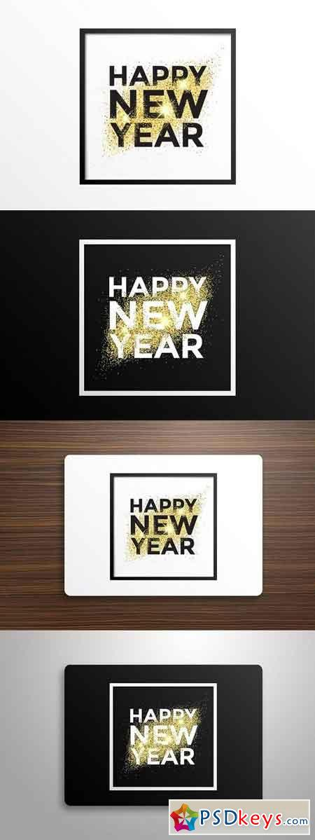 Gold glitter New Year greeting card 1097478