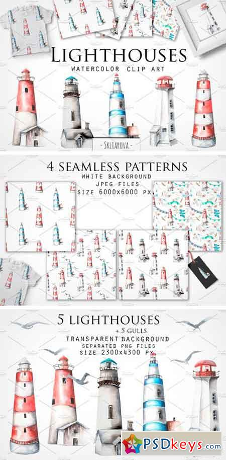 Lighthouses Watercolor CLip Art 2165152
