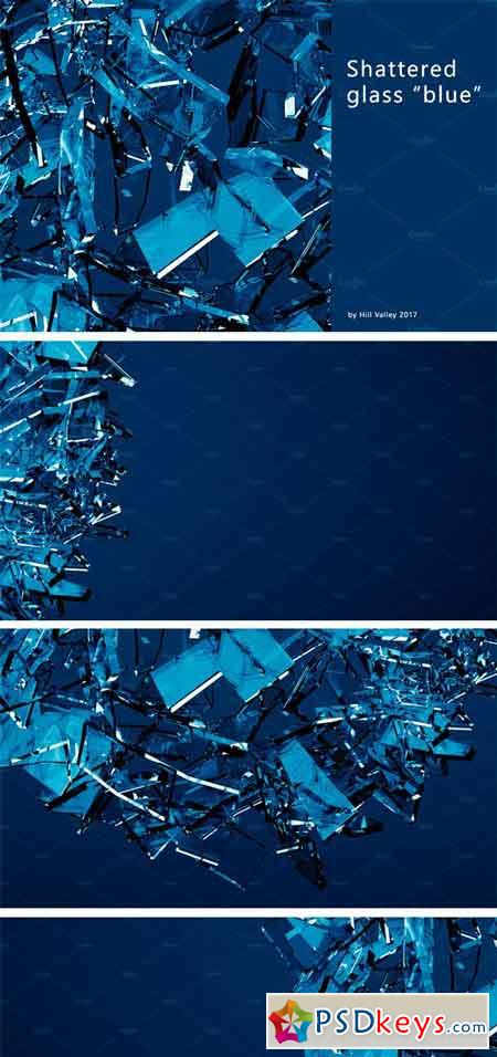Blue Shattered Glass - 6 Backgrounds 2164641