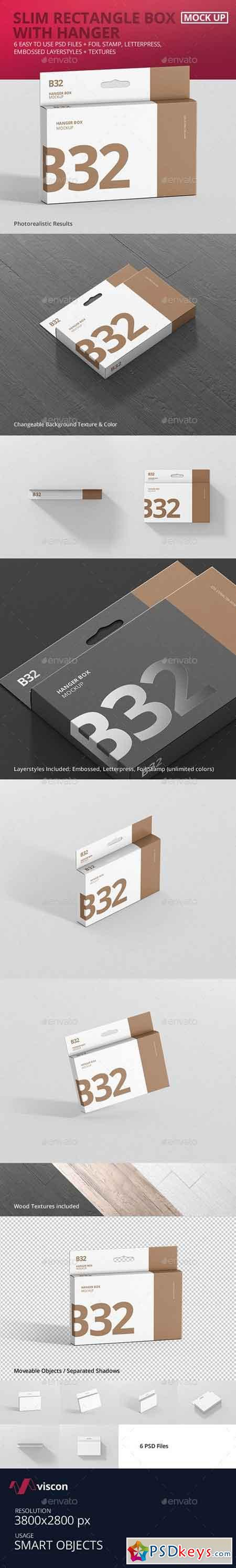 Box Mockup - Wide Slim Rectangle Size with Hanger 21258176