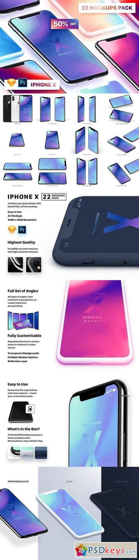 22 iPhone X (PSD, Sketch) Mockups 2108012 » Free Download Photoshop