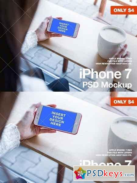 iPhone 7 RED PSD Mockup 1419625