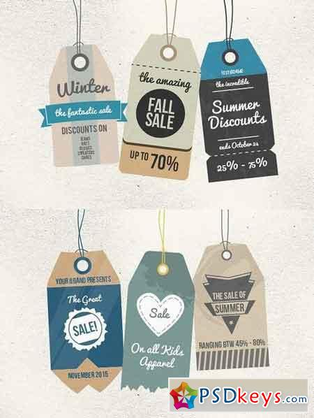 6 Retro Sale Tags 19433