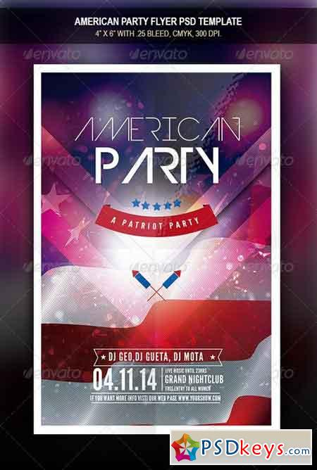 American Party Flyer Template 7814443