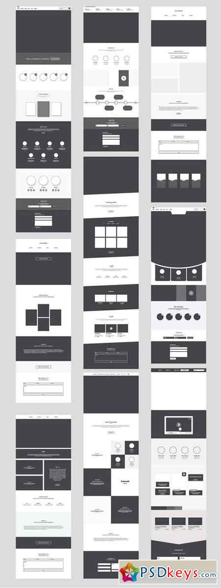 One Page Website Wireframe Kit. #3 1485846