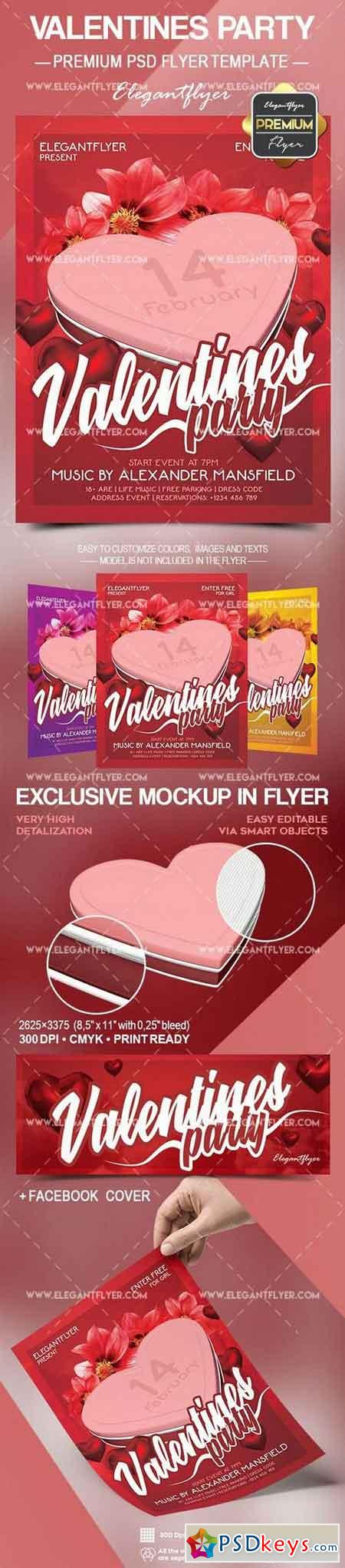 Valentines Party – Flyer PSD Template + Facebook Cover