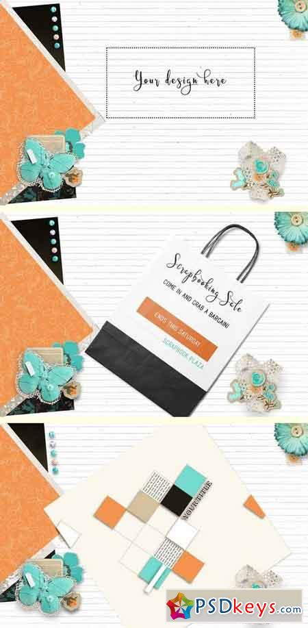 Teal & Orange Scrapbooking Mock Up 1486807