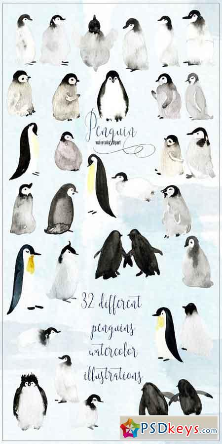 Penguins Watercolor clipart 1949488