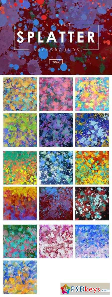16 Paint Splatter Backgrounds Vol. 3