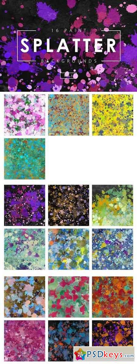 16 Paint Splatter Backgrounds Vol. 1
