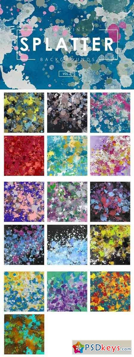 16 Paint Splatter Backgrounds Vol. 2