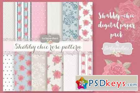 Shabby-chic rose digital paper pack