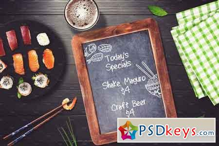 Sushi Bar Chalkboard Menu Mock-up #4 2103012