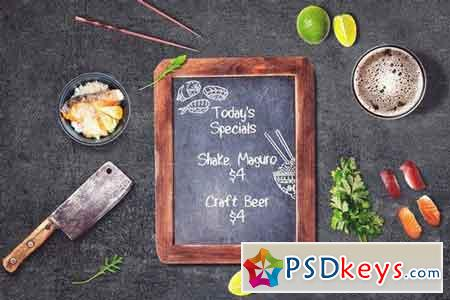 Sushi Bar Chalkboard Menu Mock-up #3 2103011