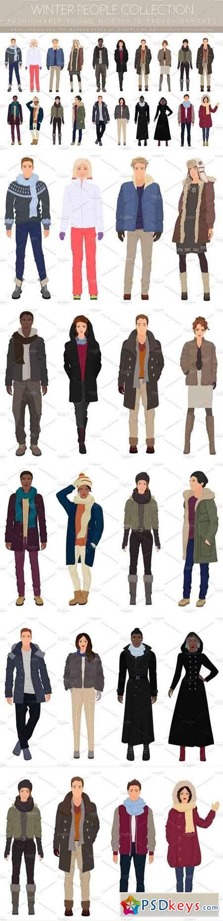 Fashionable winter people collection 1497989