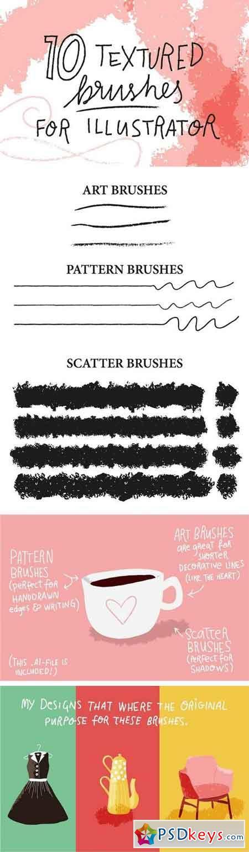 10 textured brushes for Illustrator 1914786