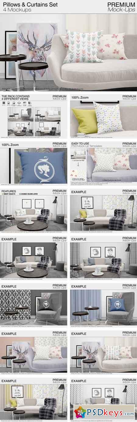 Pillows & Curtains Set 1867763