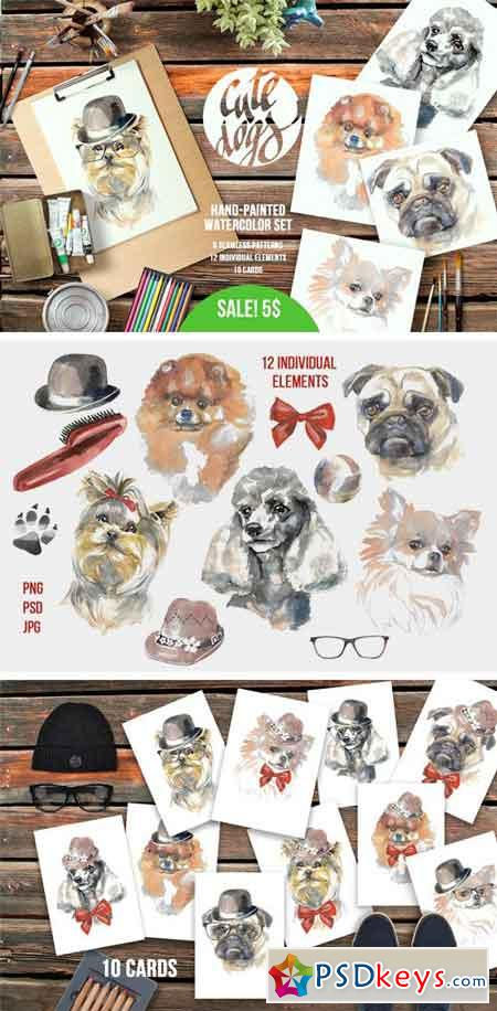 Cute Dogs Watercolor Set 2164782
