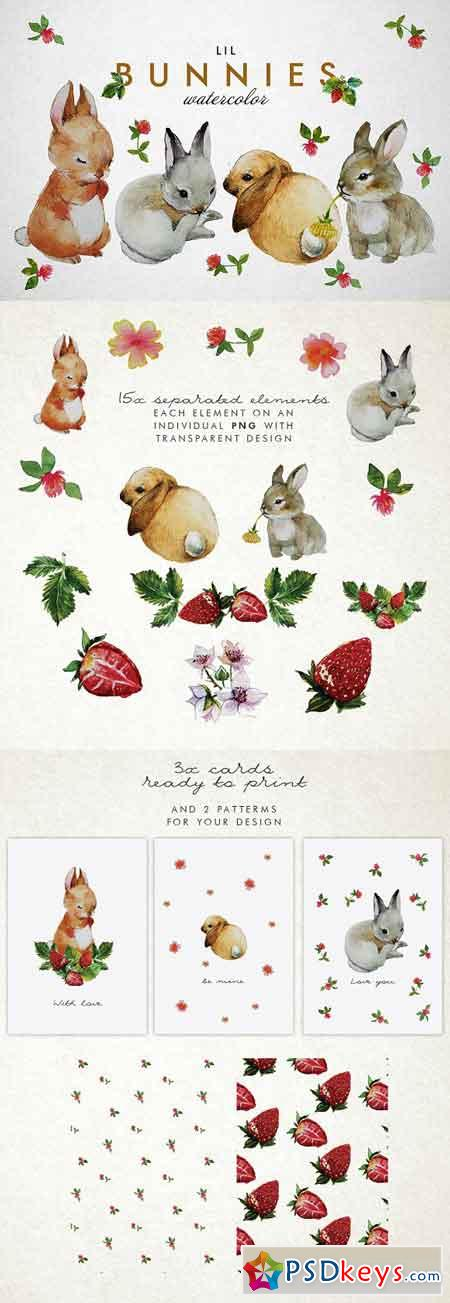 Bunnies + strawberry watercolor 2247744