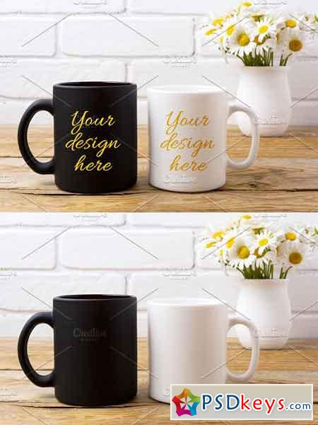 White and black coffee mug mockup 2219381