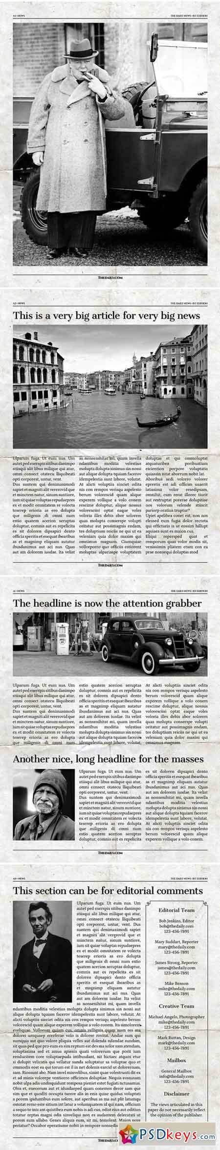 Vintage InDesign Newspaper Template 2176523