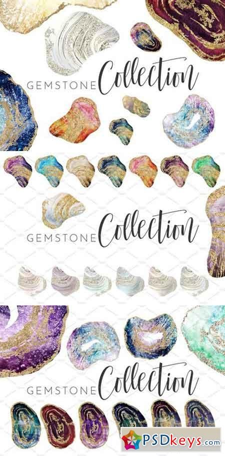 Watercolor & Foil Gemstone Geodes 2176745