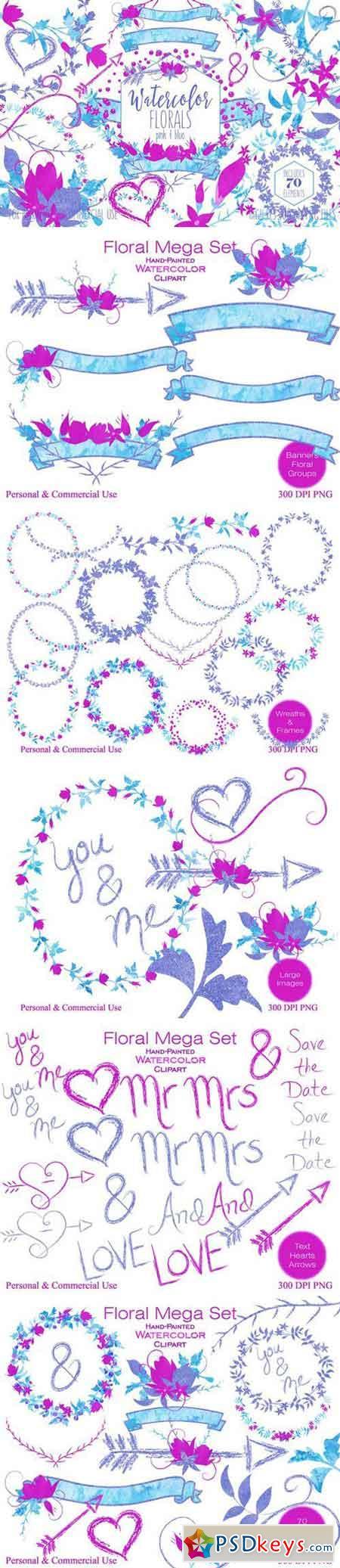 Pink & Blue Watercolor Floral Set 2176158