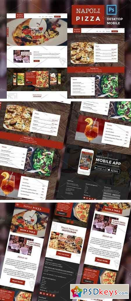 Pizza restaurant website PSDs 1999244