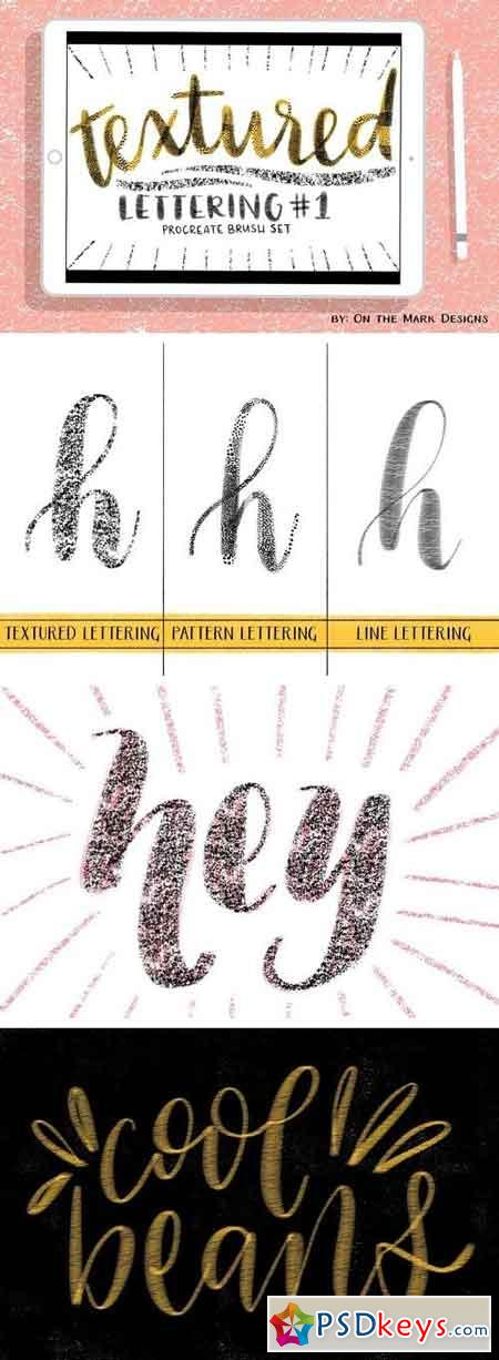 Textured Lettering Brushes Set 1 2000912
