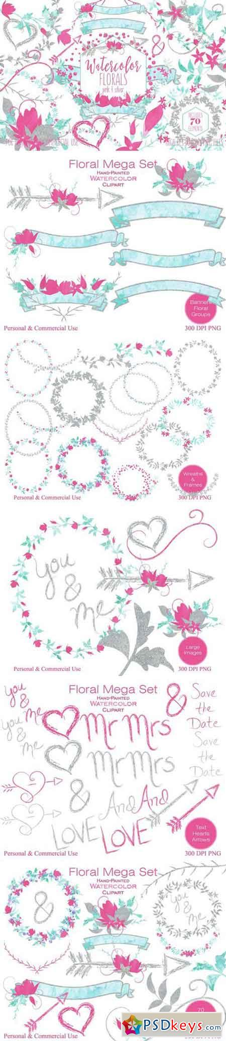 Pink & Silver Watercolor Floral Set 2176133