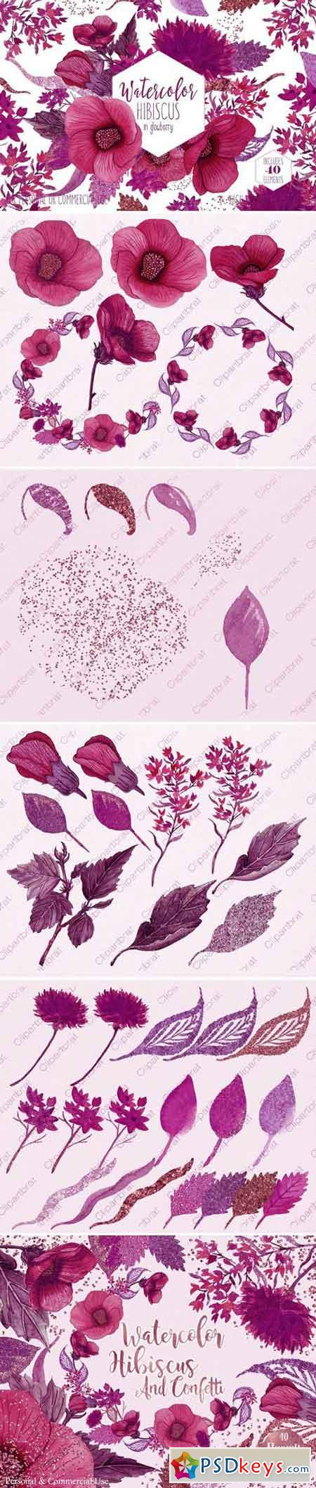 Wine Pink Tropical Floral Graphics 2186086