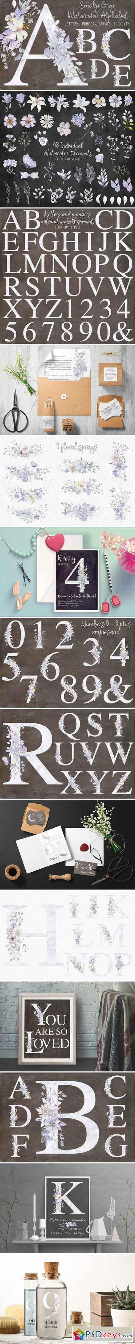 Smoky grey letters, numbers & sprays 2175323