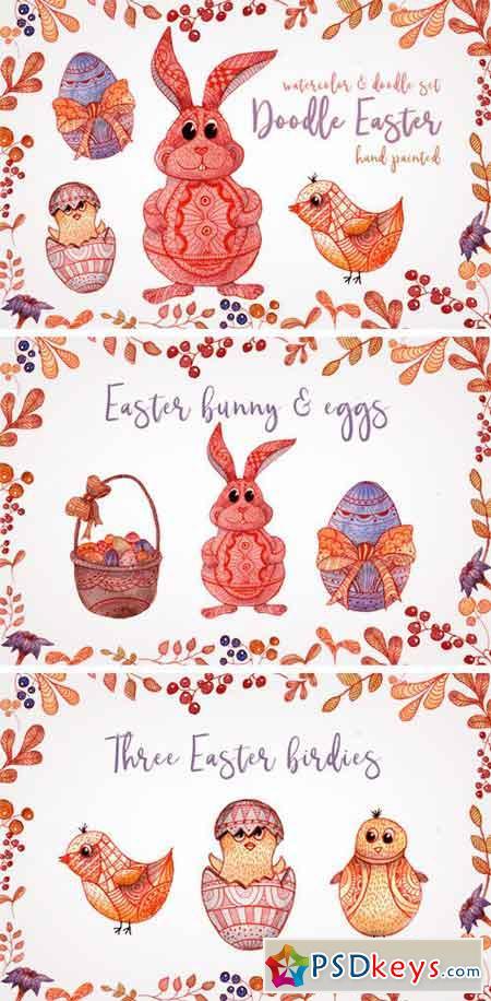 Doodle Easter Watercolor Set Clipart 2199993