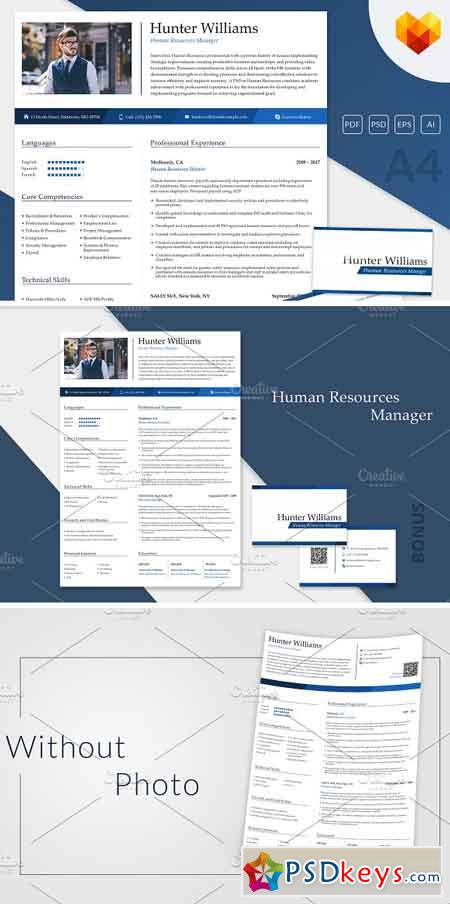 HR Resume Template PSD 2139911