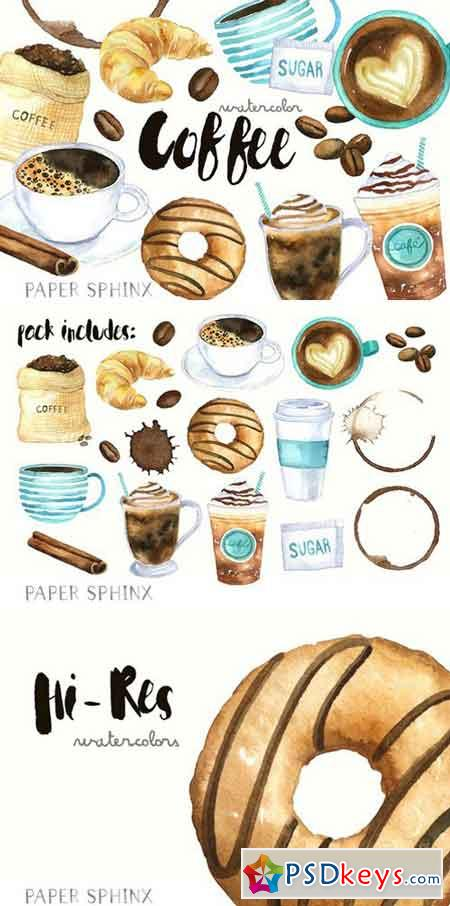 Watercolor Coffee Clipart 2205006