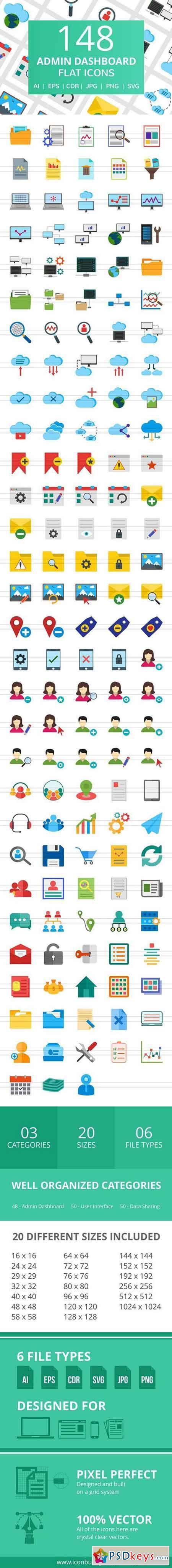 148 Admin Dashboard Flat Icons 2185436
